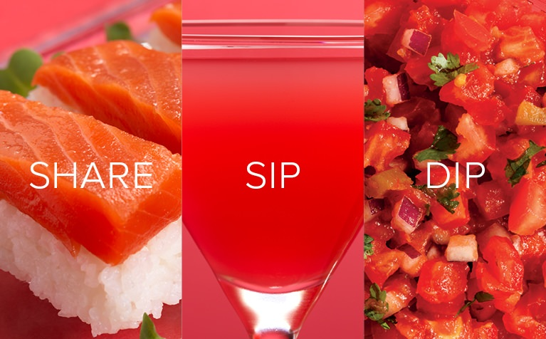 Image Of Salmon Sashimi A Pink Tail And Red Salsa With Share Sip